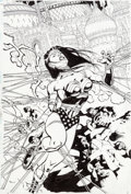 Original Comic Art:Covers, Doug Mahnke and Tom Nguyen JLA #62 Cover Original Art (DC,2002)....