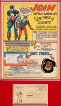 Memorabilia:Comic-Related, Captain America's Sentinels of Liberty Membership Card, Badge, and Envelope (Marvel, 1941)....