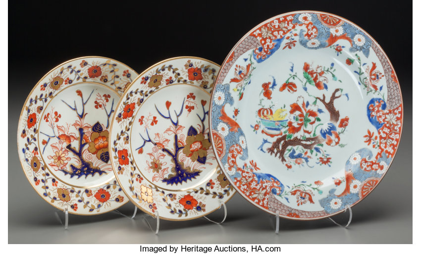 Two Royal Crown Derby Imari Pattern Plates with Chinese Export | Lot