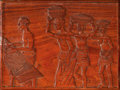 Paintings, A Ghanaian Kumasi Region Carved Wood Bust and Panel, circa 1970. 22-5/8 x 30-1/4 inches (57.5 x 76.8 cm) (panel). These it... (Total: 2 Items)