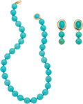 Jewelry, A Turquoise, Gold Jewelry Suite. NECKLACE LENGTH: 14 inches. EARRING DIMENSIONS: 1-3/4 inches x 5/8 inch. GROSS WEIGHT: 77.1... (Total: 3 Items)