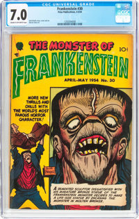 Frankenstein Comics #30 (Prize, 1954) CGC FN/VF 7.0 Cream to off-white pages