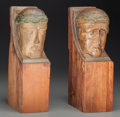 Decorative Arts, Continental:Other , Two Continental Carved Pine and Polychromed Figural Corbels, .14-1/2 inches high (36.8 cm). PROVENANCE: From the William ...(Total: 2 Items)