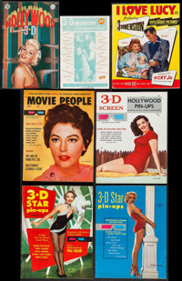 "3-D Magazine Lot (Various, 1950s-1980s). Magazines (10) & Comic Book (Multiple Pages, 6""-8.5"" X 9.75-11&qu..."