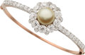 Estate Jewelry:Bracelets, Natural Pearl, Diamond, Platinum-Topped Pink Gold Bracelet. ...