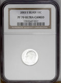 Proof Roosevelt Dimes: , 2003-S 10C Silver PR70 Deep Cameo NGC. PCGS Population (141/0).Numismedia Wsl. Price: $160. (#95307)...