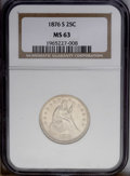 Seated Quarters: , 1876-S 25C MS63 NGC. NGC Census: (33/89). PCGS Population(55/69).Mintage: 8,596,000. Numismedia Wsl. Price: $371. (#5503)...