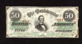 Confederate Notes:1863 Issues, T57 $50 1863. A large corner fold and chipping along the right-handedge is found on this $50 that was once mounted with thr...