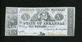 Obsoletes By State:Arkansas, (Little Rock,) AR- State of Arkansas $10 Oct. 1, 1863. The main handling on this blue paper note with the green lettering ba...