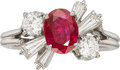 Estate Jewelry:Rings, Ruby, Diamond, Platinum Ring, retailed by Harry Winston. ...