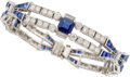 Estate Jewelry:Bracelets, Sapphire, Diamond, Platinum Bracelet. ...