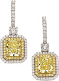 Estate Jewelry:Earrings, Fancy Intense Yellow Diamond, Colored Diamond, Diamond, GoldEarrings. ... (Total: 2 Items)