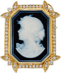 Estate Jewelry:Brooches - Pins, Diamond, Porcelain, Gold Brooch. ...