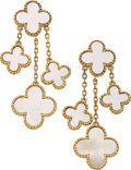 Estate Jewelry:Earrings, Mother-of-Pearl, Gold Earrings. ... (Total: 2 Items)