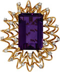 Estate Jewelry:Brooches - Pins, Amethyst, Diamond, Gold Pendant-Brooch. ...