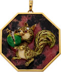 Estate Jewelry:Pendants and Lockets, Multi-Stone, Diamond, Enamel, Gold Pendant. ...