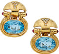 Estate Jewelry:Earrings, Blue Topaz, Ruby, Diamond, Gold Earrings. ... (Total: 2 Items)