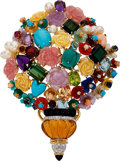 Estate Jewelry:Brooches - Pins, Multi-Stone, Diamond, Gold Pendant-Brooch. ...