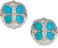 Estate Jewelry:Earrings, Turquoise, Diamond, White Gold Earrings, Casarin. ... (Total: 2Items)