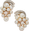 Estate Jewelry:Earrings, Cultured Pearl, Diamond, Gold Earrings. ... (Total: 2 Items)