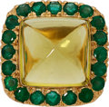 Estate Jewelry:Rings, Citrine, Emerald, Gold Ring. ...