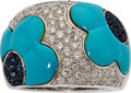 Estate Jewelry:Rings, Sapphire, Turquoise, Diamond, White Gold Ring. ...