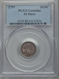 Early Half Dimes, 1797 H10C 16 Stars, PCGS Genuine. The PCGS number ending in .98suggests damage as the reason, or perhaps one of the reason...