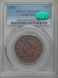 Large Cents, 1820 1C Large Date MS64 Brown PCGS. CAC. PCGS Population: (214/153). NGC Census: (160/176). CDN: $1,250 Whsle. Bid for prob...