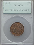 Proof Two Cent Pieces: , 1865 2C PR64 Brown PCGS. PCGS Population: (21/20). NGC Census: (15/24). CDN: $395 Whsle. Bid for problem-free NGC/PCGS PR64...