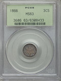 Three Cent Silver: , 1866 3CS MS63 PCGS. PCGS Population: (15/61). NGC Census: (9/48). CDN: $1,200 Whsle. Bid for problem-free NGC/PCGS MS63. Mi...