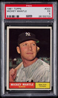 Baseball Cards:Singles (1960-1969), 1961 Topps Mickey Mantle #300 PSA EX 5....