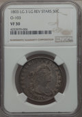 Early Half Dollars, 1803 50C Large 3, Large Reverse Stars, O-103, T-3, R.3, VF30 NGC.NGC Census: (7/43). PCGS Population: (7/10). ...