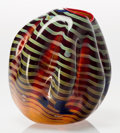 Art Glass:Other , Dale Chihuly (American, b. 1941). Cinnamon Macchia Basket withRed Lip Wrap. Blown glass. 7-1/2 inches high (19.1 cm). S...(Total: 2 Items)