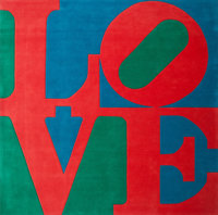 Robert Indiana (American, b. 1928) Classic Love Chrome-dyed, hand-carved tufted archival New Zealand
