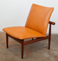 Furniture : Continental, Finn Juhl (Danish, 1912-1989). Japan Chair, Model 137,designed 1953, France & Son. Oak, leather upholstery, brass. 30x...