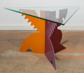 Furniture , Peter Shire (American, b. 1947). Triangle Side Table, 1984, Memphis. Stained aluminum, glass. 16-1/2 x 29-1/2 x 25-3/4 i... (Total: 2 Items)