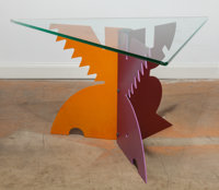 Peter Shire (American, b. 1947) Triangle Side Table, 1984, Memphis Stained aluminum, glass 16-1/2