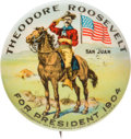 Political:Pinback Buttons (1896-present), Theodore Roosevelt: San Juan Hill Picture Pin....