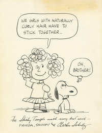 "Charles Schulz - Snoopy and Frieda Illustration Original Art Gifted to Shirley Temple Black stating ""We girls"