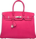 Luxury Accessories:Bags, Hermes Limited Edition Candy Collection 35cm Rose Tyrien Epsom Leather & Rubis Birkin Bag with Palladium Hardware. P Squar...
