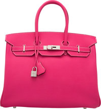 Hermes Limited Edition Candy Collection 35cm Rose Tyrien Epsom Leather & Rubis Birkin Bag with Palladium Hardwar...