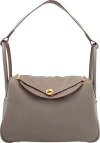 Hermes 34cm Etain Clemence Leather Lindy Bag with Gold Hardware Q Square, 2013 Excellent to Pristine Conditi