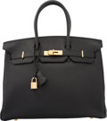 "Luxury Accessories:Bags, Hermes 35cm Black Togo Leather Birkin Bag with Gold Hardware. GSquare, 2003. Excellent to Pristine Condition.14""..."