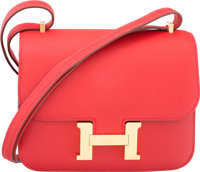 Hermes 18cm Vermillion Swift Leather Double Gusset Constance Bag with Gold Hardware X, 2016 Excel