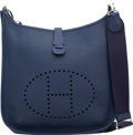 Luxury Accessories:Bags, Hermes Blue Saphir Clemence Leather Evelyne III GM Bag withPalladium Hardware. Q Square, 2013. Excellent to PristineCond...
