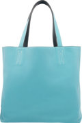 Luxury Accessories:Bags, Hermes Blue Atoll Clemence & Colvert Evergrain Leather DoubleSens PM Reversible Tote Bag. T, 2015. Excellent toPrist...