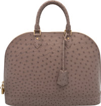 """Louis Vuitton Gray Ostrich Alma GM Bag Excellent to Pristine Condition 15"""" Width x 11"""" Height x 7"""
