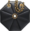 "Luxury Accessories:Bags, Chanel Black Lambskin Leather Octagon Shoulder Bag . GoodCondition. 8"" Width x 8"" Height x 2"" Depth. ..."