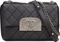"""Luxury Accessories:Bags, Chanel Black Quilted Distressed Lambskin Leather Shoulder Bag. Excellent to Pristine Condition. 9"""" Width x 6.5"""" Height..."""