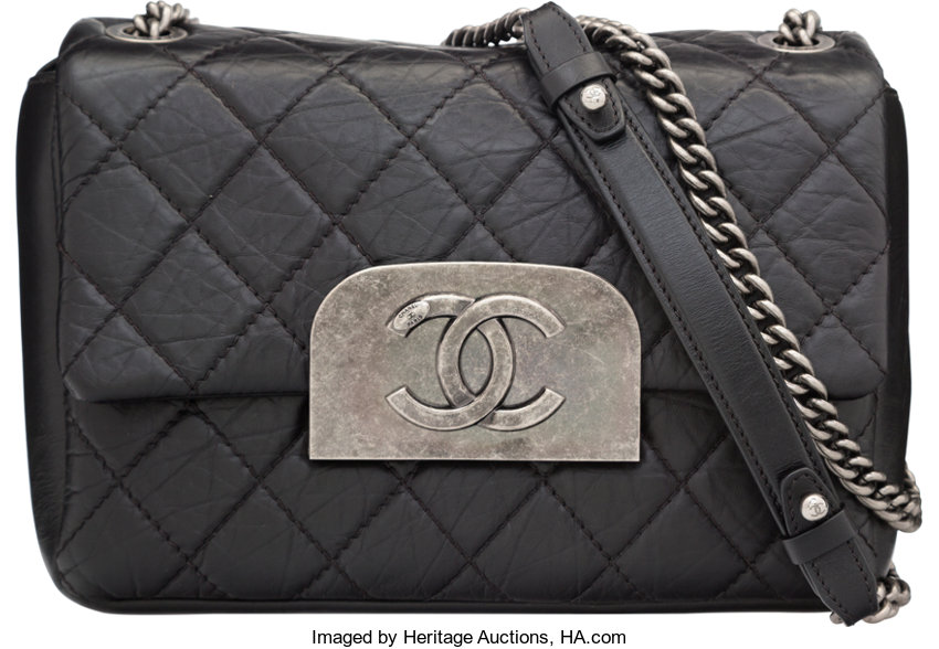 57154d165b4e Excellent to; Luxury Accessories:Bags, Chanel Black Quilted Distressed  Lambskin Leather Shoulder Bag.